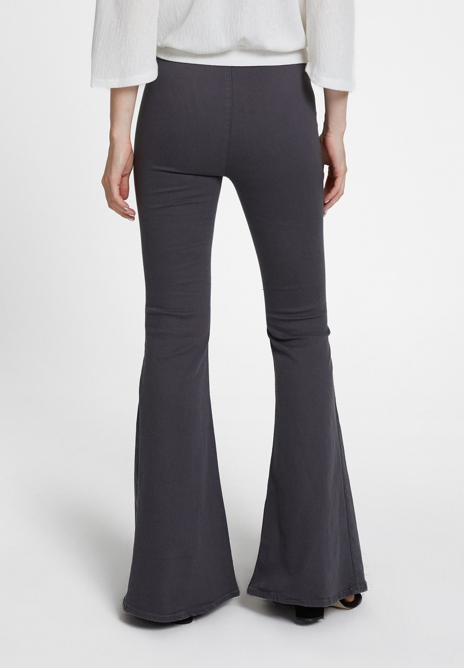 Women Grey High Rise Flare Trousers