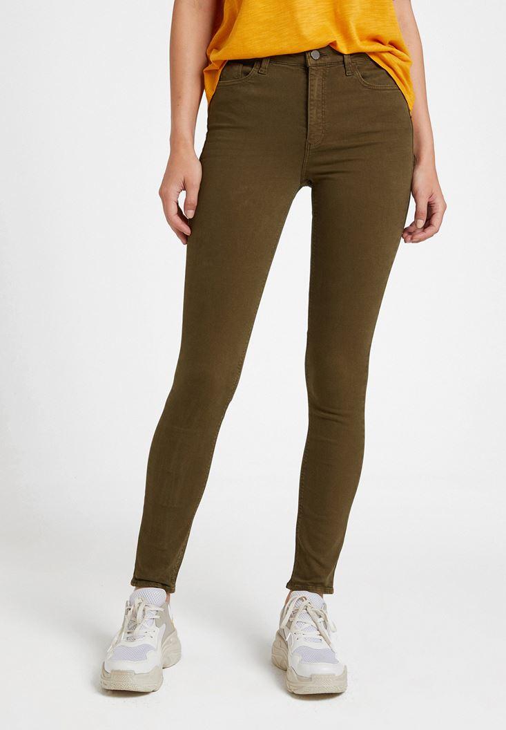 Yeşil Yüksek Bel Dar Paça Detaylı Pantolon