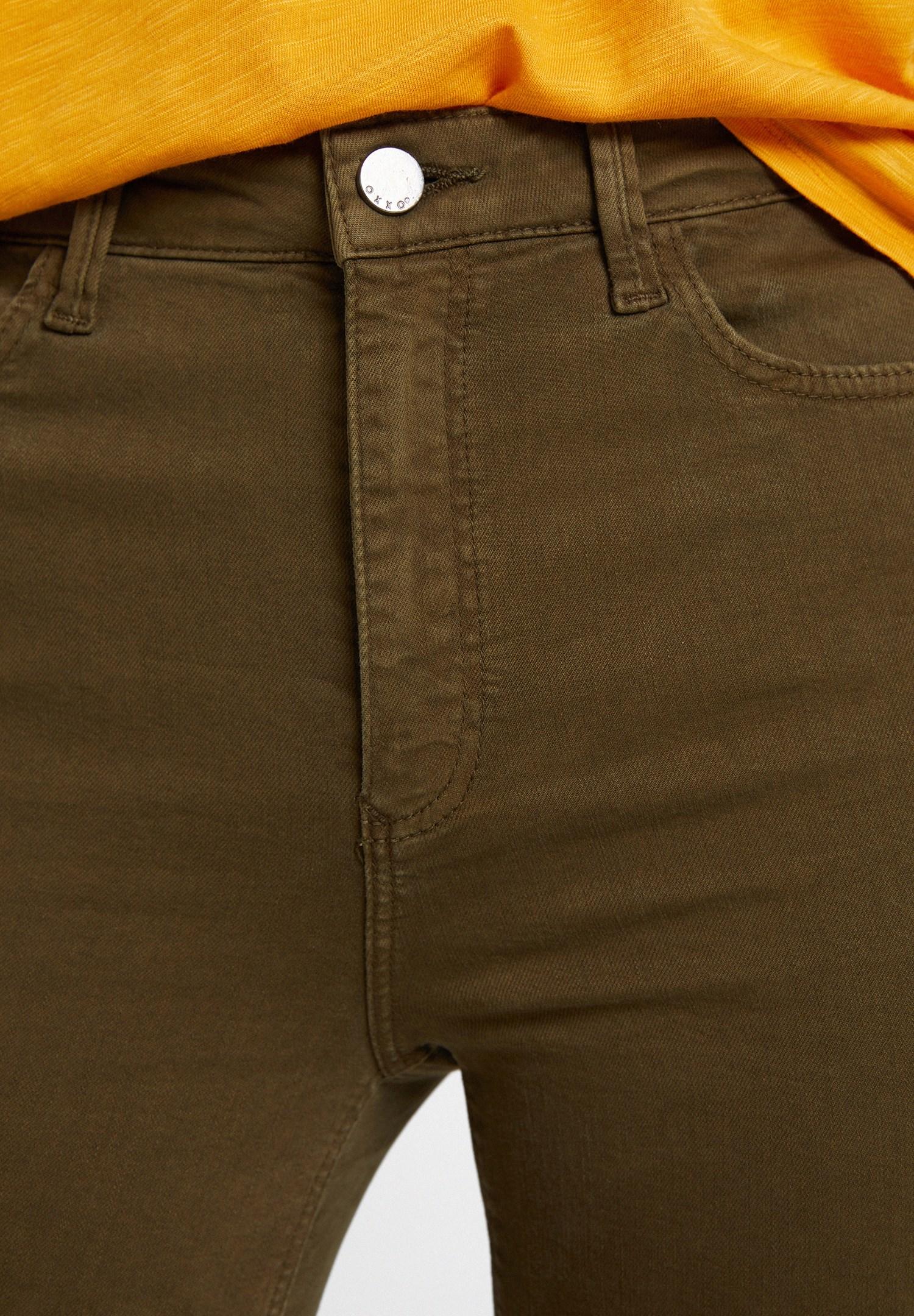 Bayan Yeşil Yüksek Bel Dar Paça Detaylı Pantolon