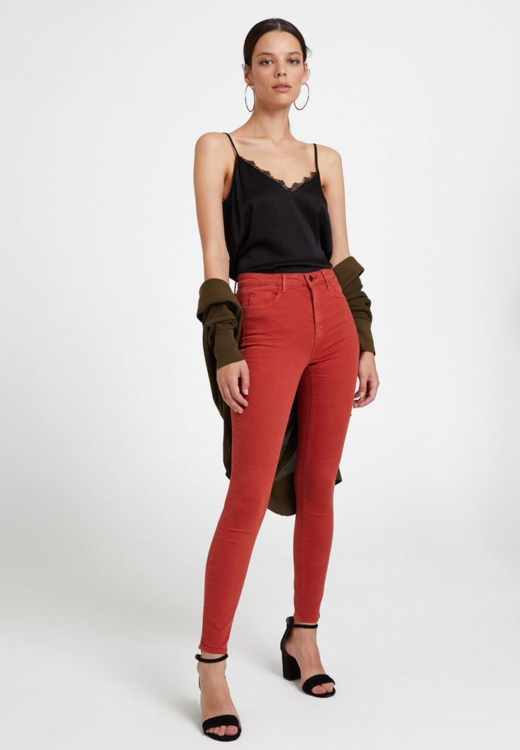 Kahverengi Yüksek Bel Dar Paça Detaylı Pantolon