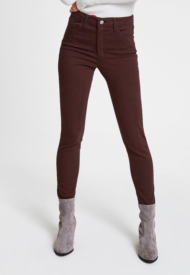 Brown High Waist Skinny Trousers