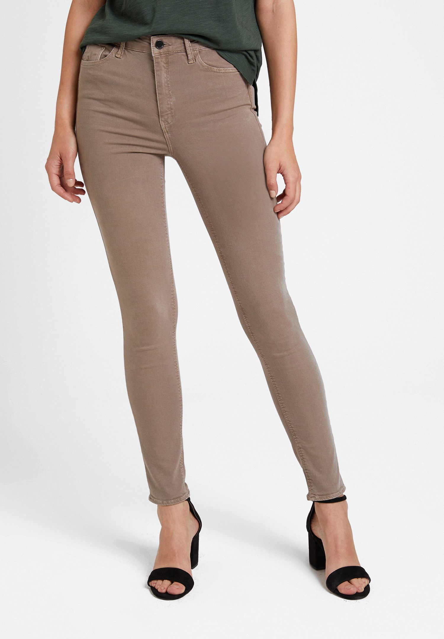 Women Brown High Waist Skinny Trousers