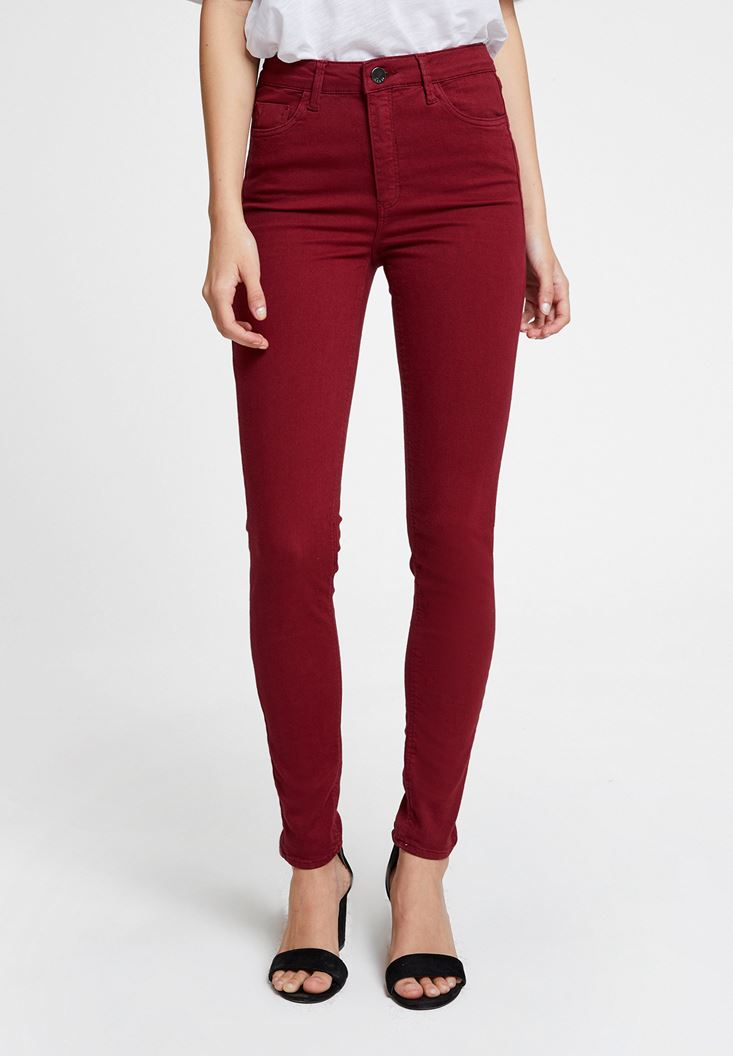 Bordeaux High Waist Skinny Trousers