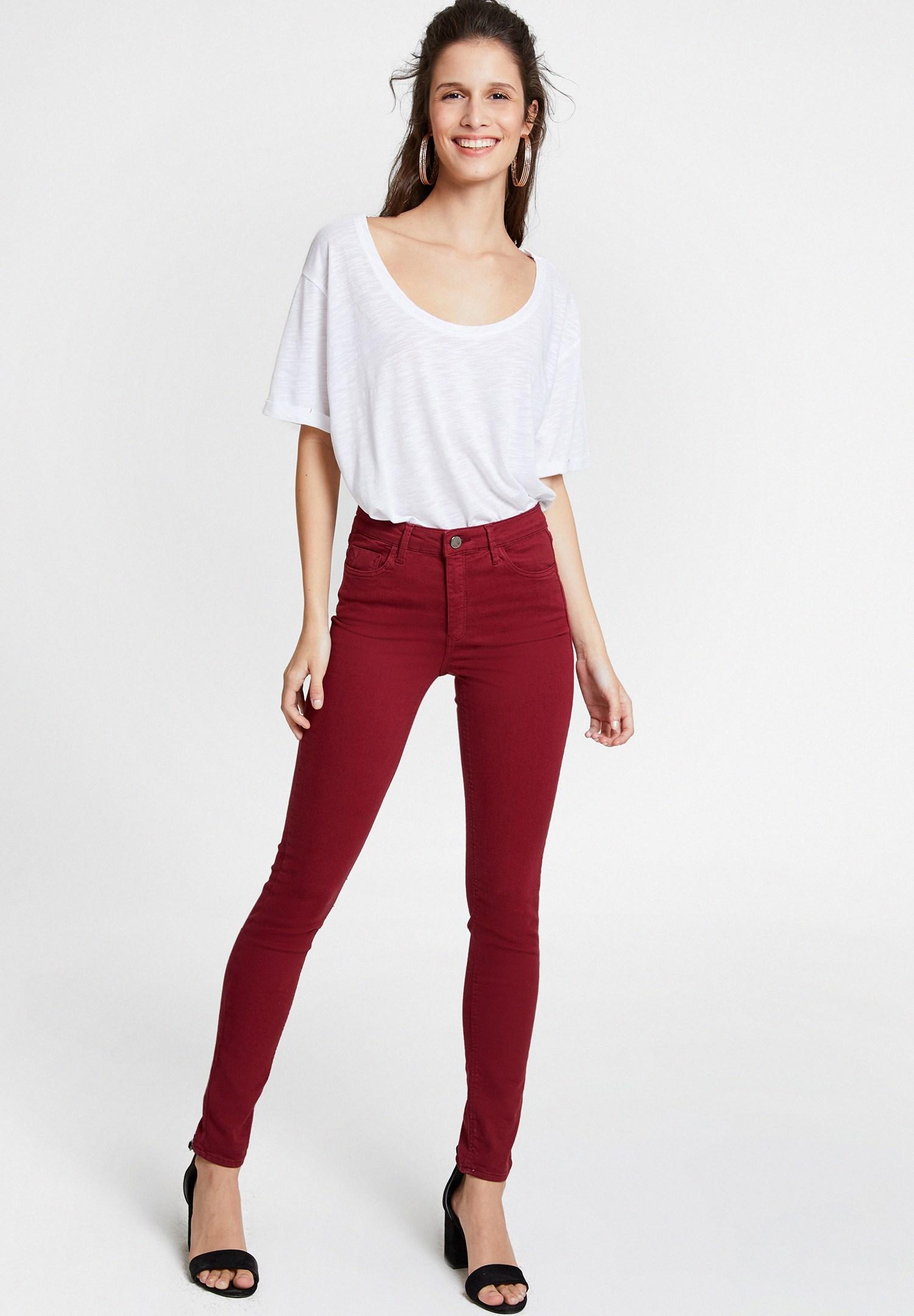 Women Bordeaux High Waist Skinny Trousers