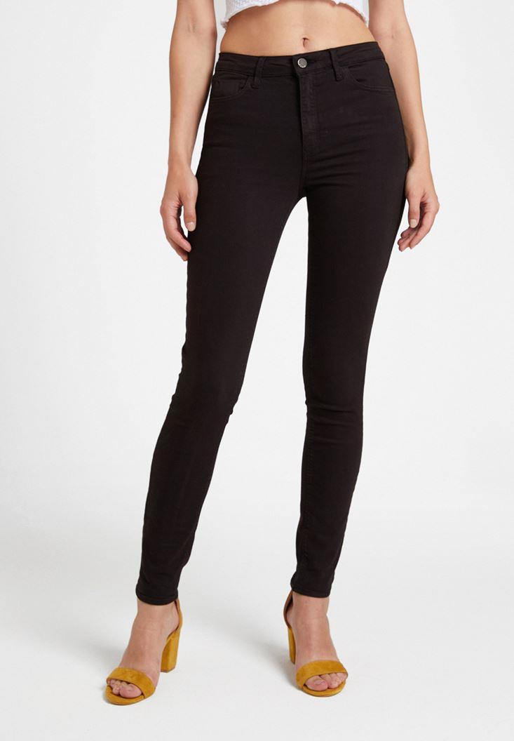 Siyah Yüksek Bel Dar Paça Detaylı Pantolon