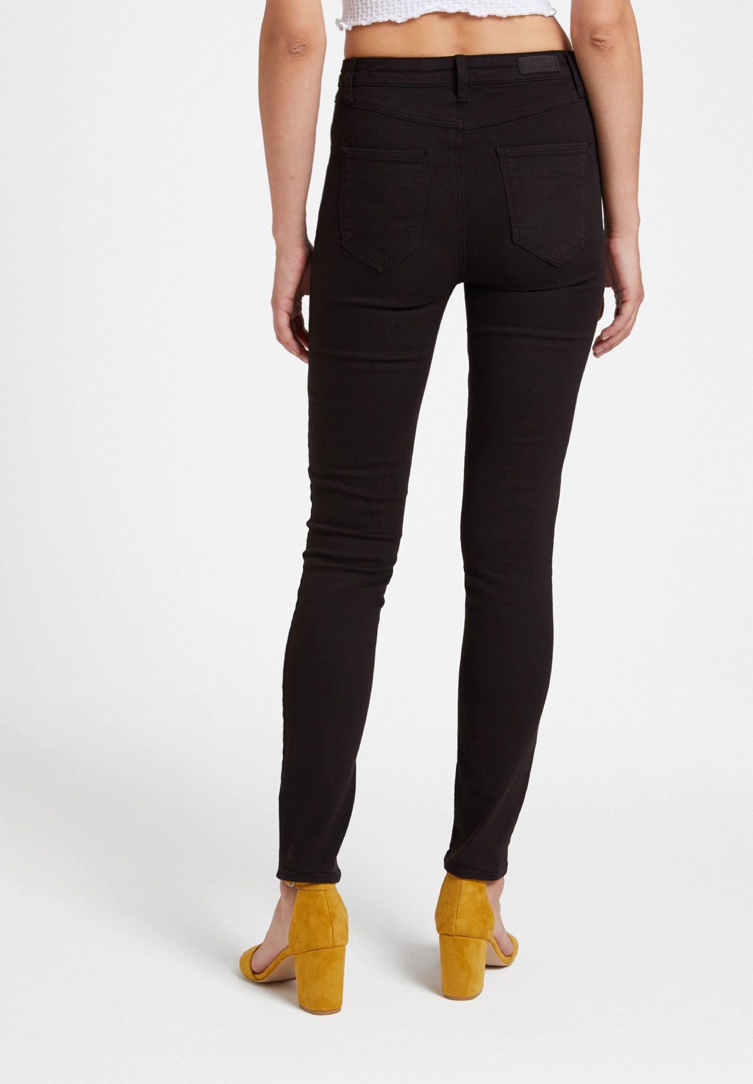 Women Black High Waist Skinny Trousers