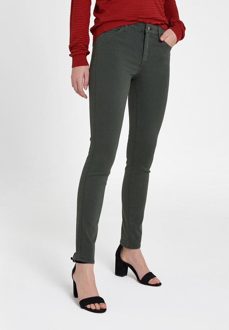 Yeşil Orta Bel Dar Paça Pamuklu Pantolon
