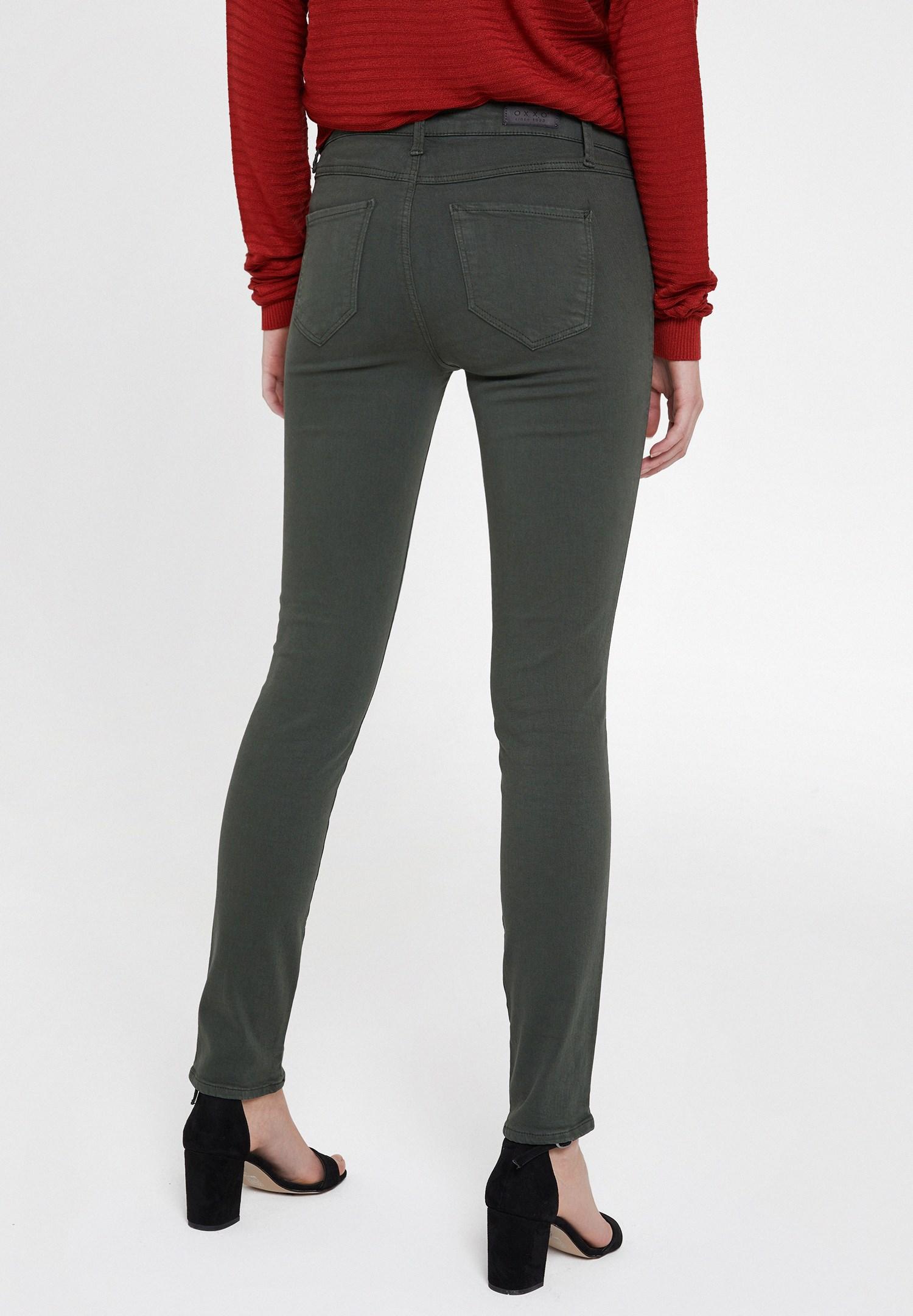 Bayan Yeşil Orta Bel Dar Paça Pamuklu Pantolon