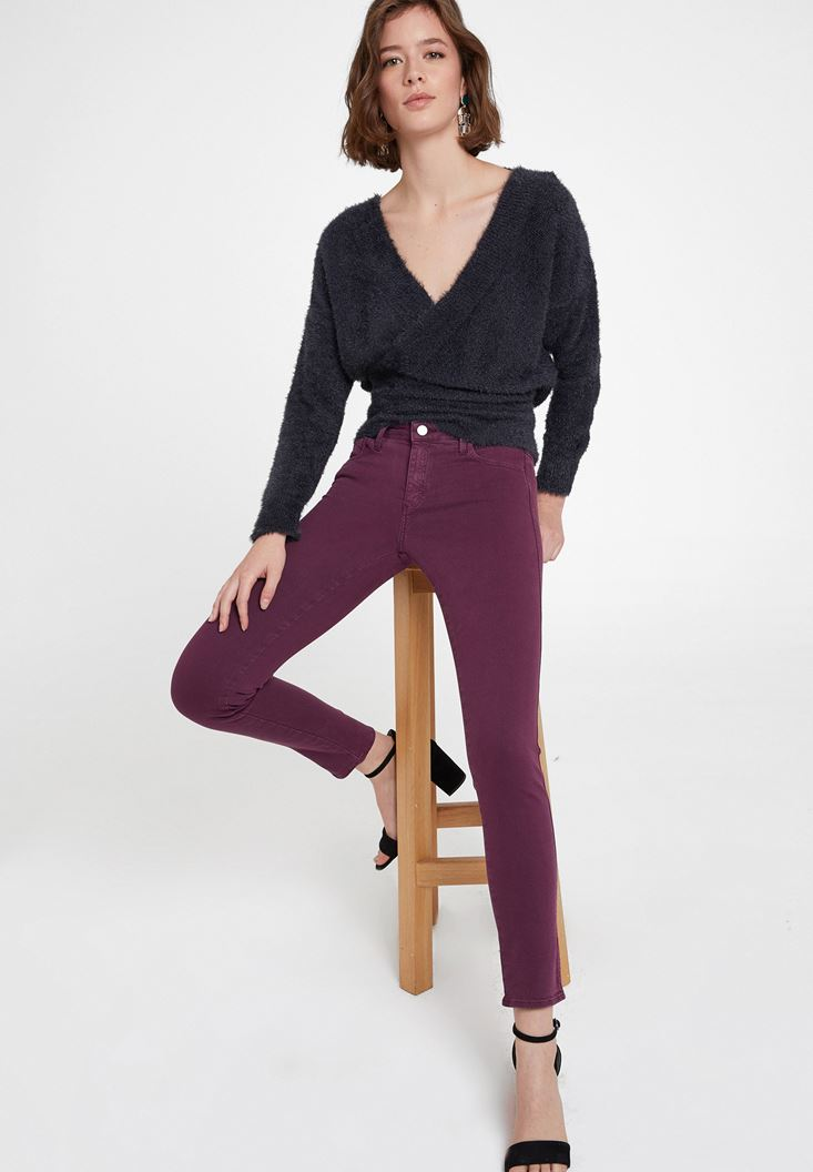 Orta Bel Dar Paça Pamuklu Pantolon