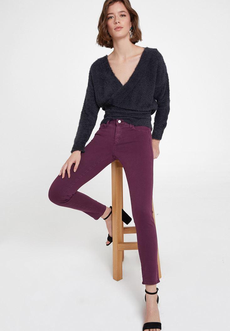 Mor Orta Bel Dar Paça Pamuklu Pantolon