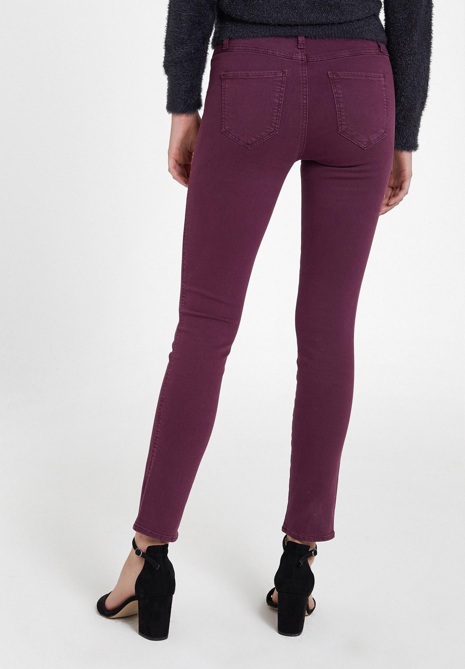 Bayan Mor Orta Bel Dar Paça Pamuklu Pantolon