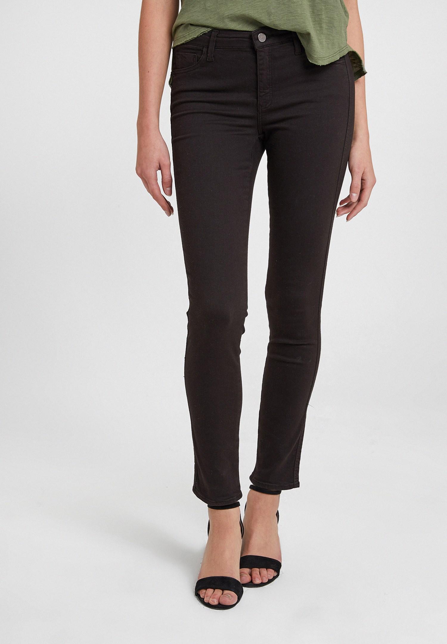 Bayan Siyah Orta Bel Dar Paça Pamuklu Pantolon