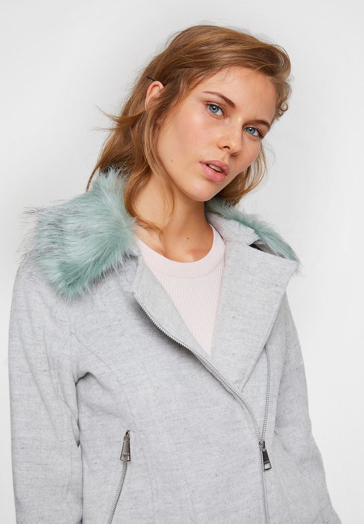 Grey Biker Jacket with Furry Neck Details