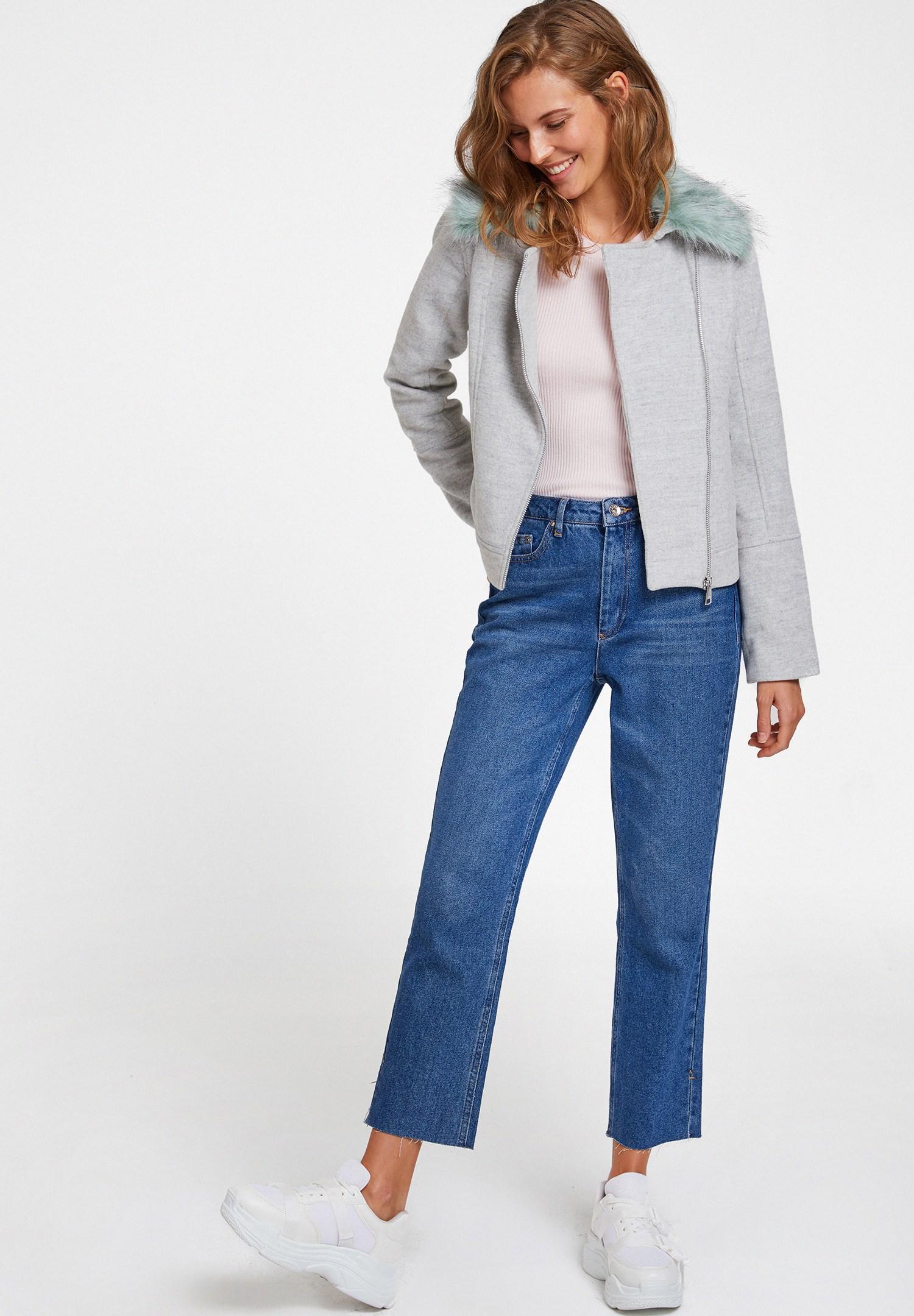 Women Grey Biker Jacket with Furry Neck Details