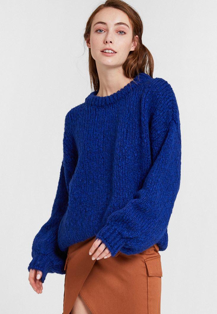 Blue Oversize Knitwear