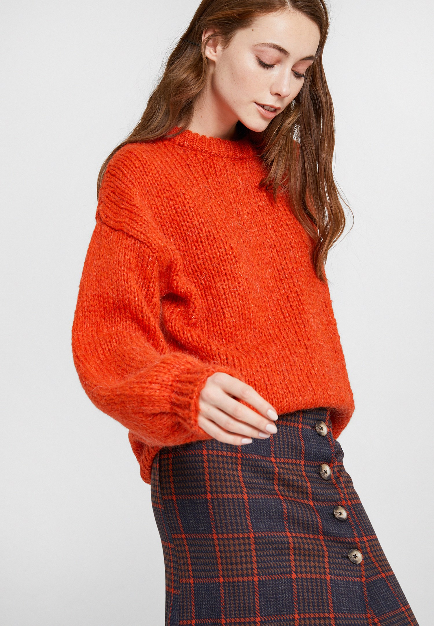 Women Orange Oversize Knitwear