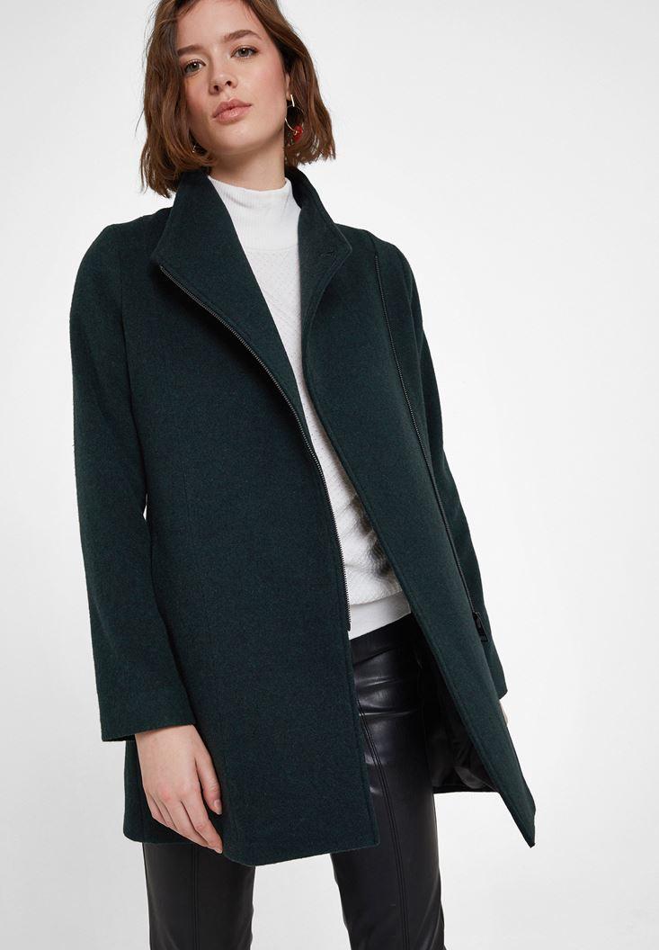 Green Zipper Detailed Jacket