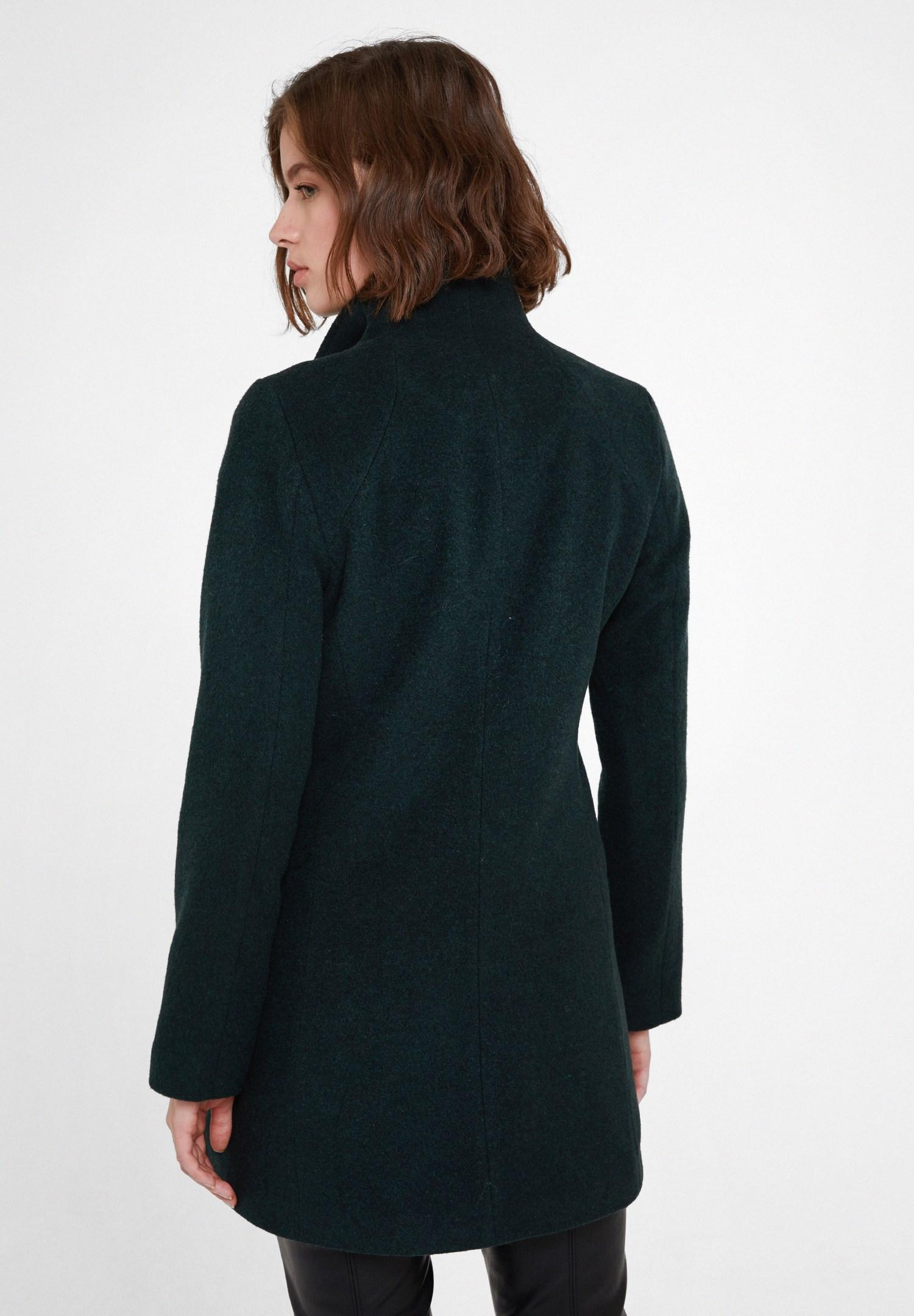 Bayan Yeşil Yün Karışımlı Fermuar Detaylı Kaban