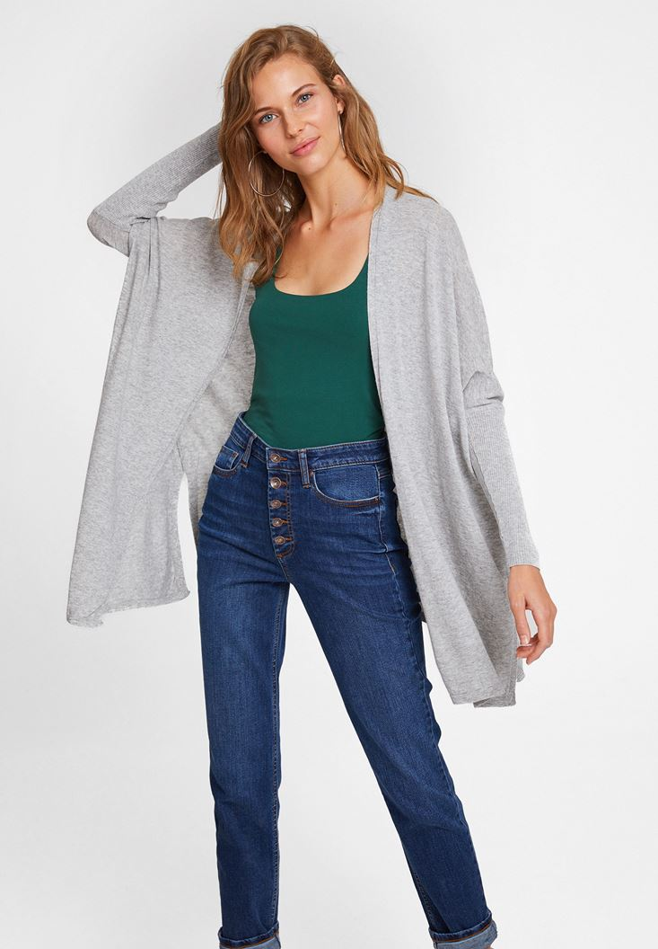 Grey Cardigan with Slash