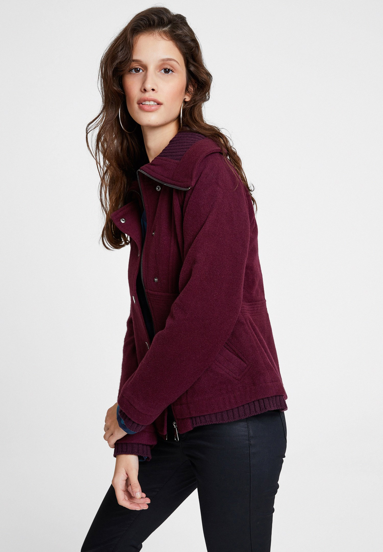 Women Purple Wool Jacket