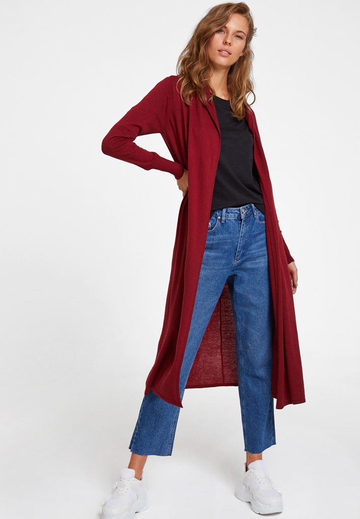 Bordeaux Long Basic Cardigan