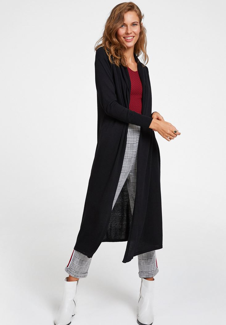 Black Long Basic Cardigan