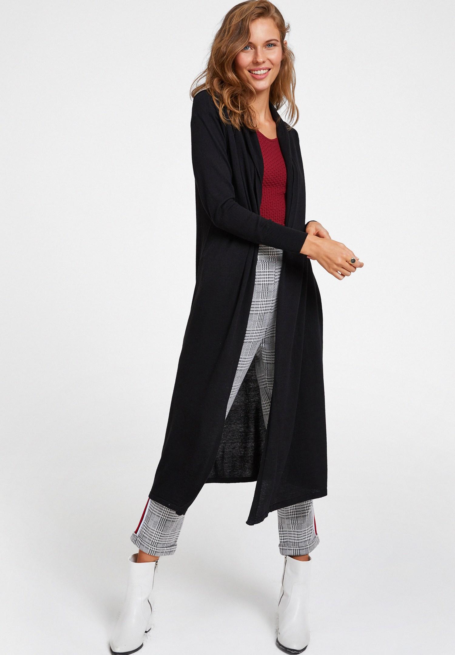 Women Black Long Basic Cardigan