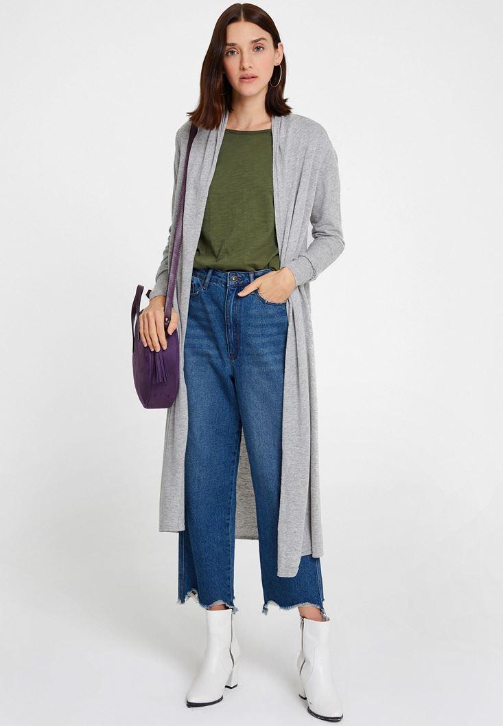 Grey Long Basic Cardigan