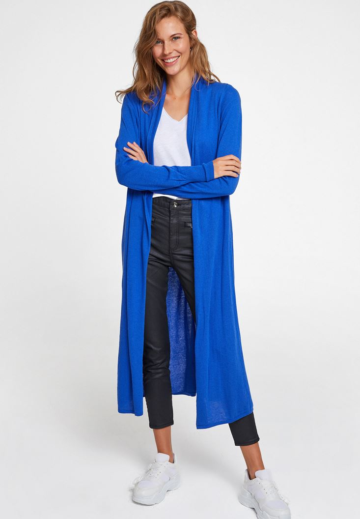Navy Long Basic Cardigan