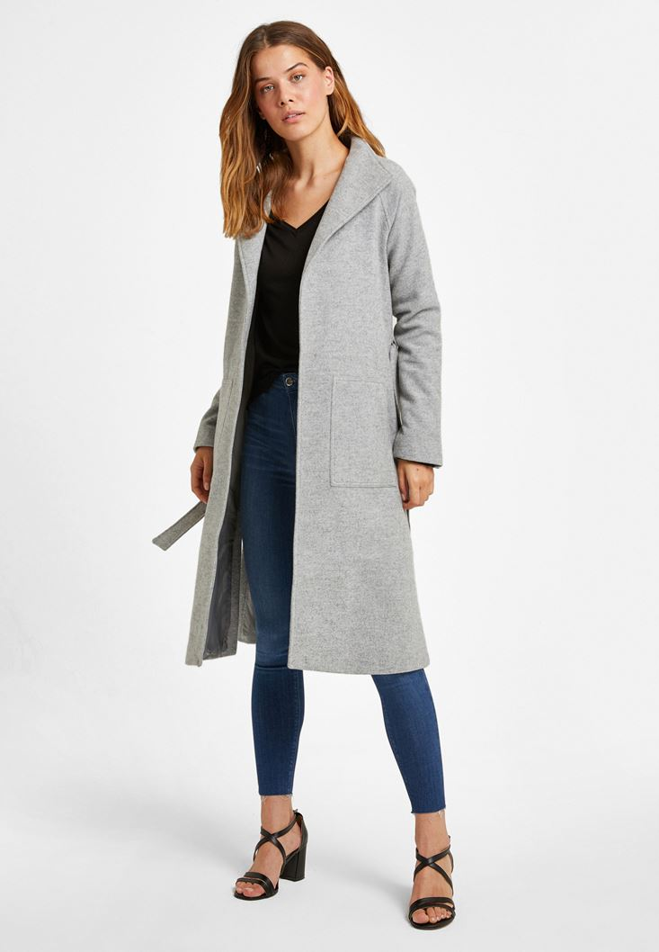 Grey Wool Coat with Belt Detail