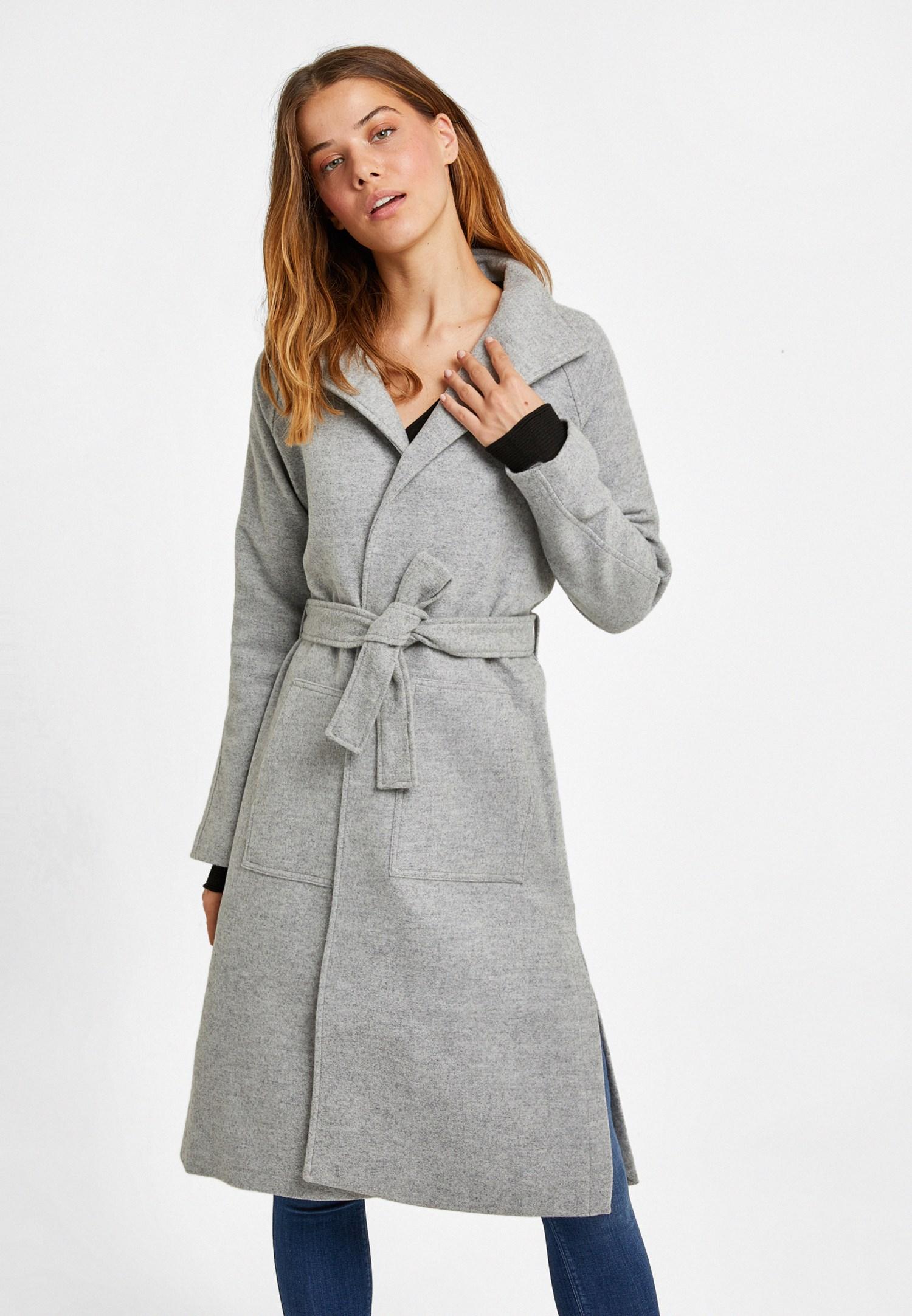 Women Grey Wool Coat with Belt Detail