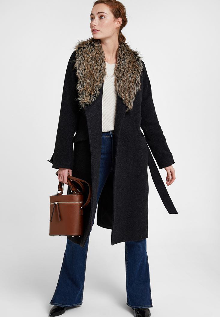 Black Coat with Fur Neck and Belt Detail