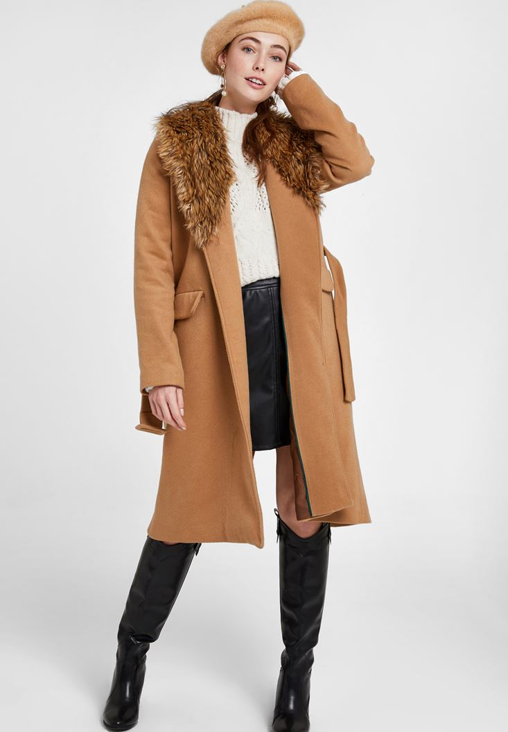 Brown Coat with Fur Neck and Belt Detail