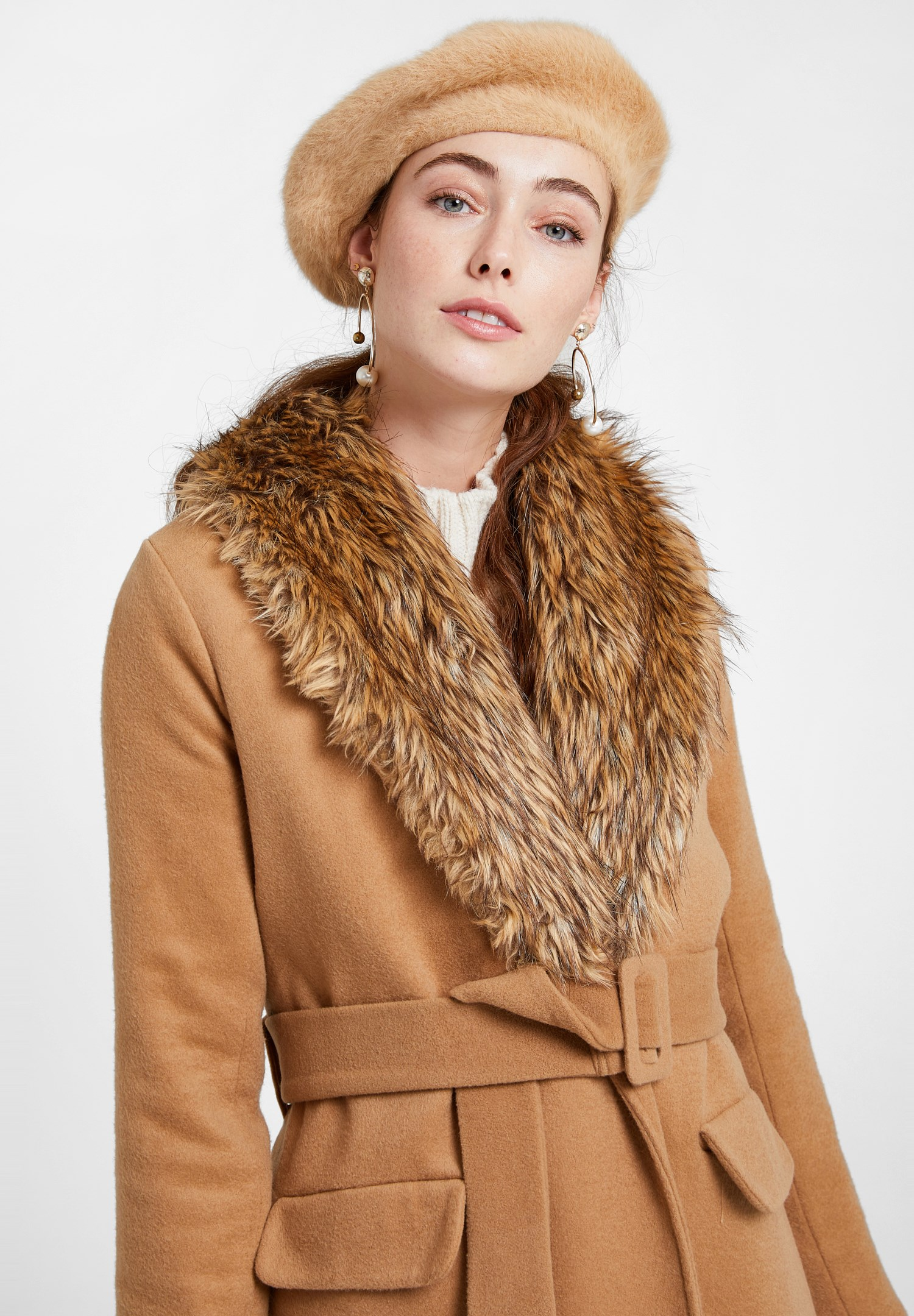 Women Brown Coat with Fur Neck and Belt Detail