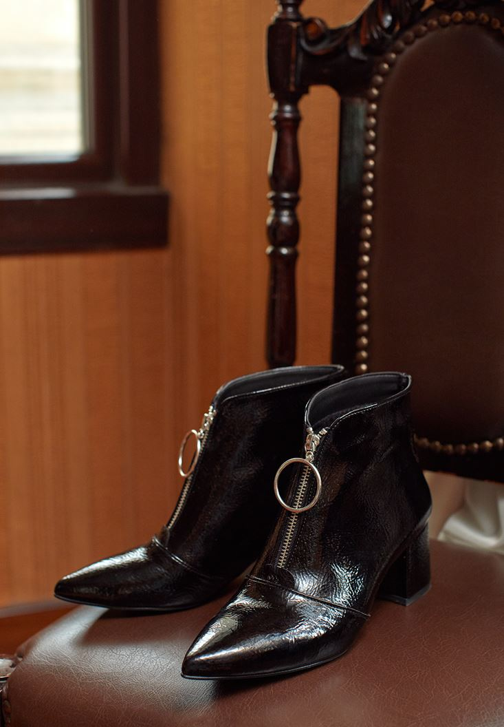 Black High Heel Boot with Zipper