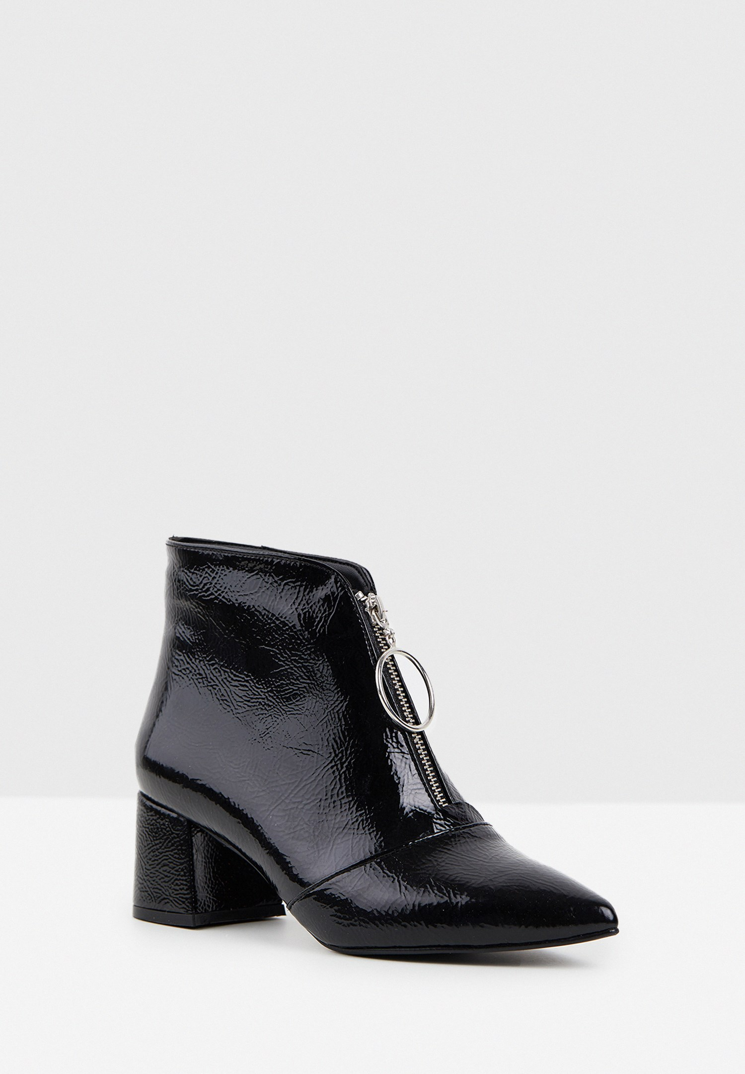 Women Black High Heel Boot with Zipper