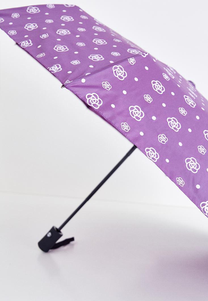 Bayan Çok Renkli Çiçekli Şemsiye