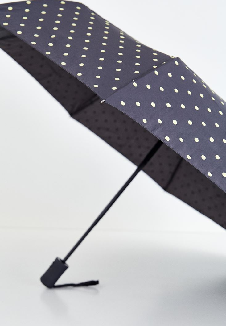Black Spotted Umbrella with Details