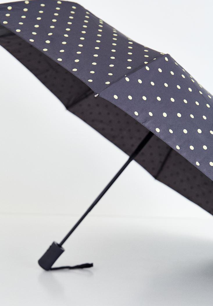 Siyah Puantiye Desenli Şemsiye