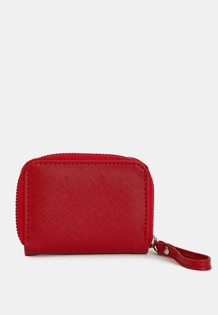 Red Mini Wallet with Zip