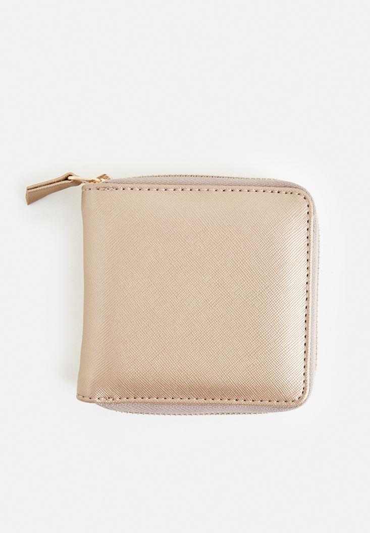Gold Zipper Detailed Small Wallet