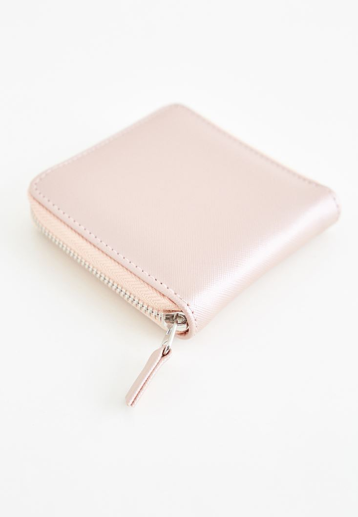 Pink Zipper Detailed Small Wallet