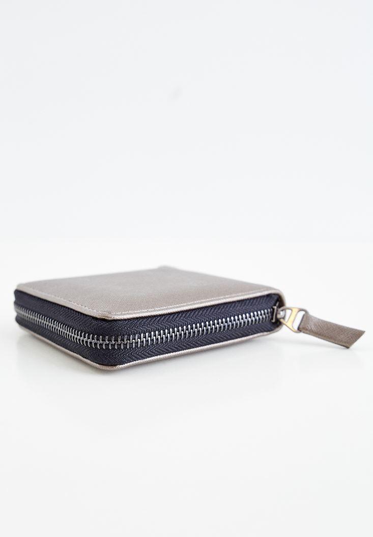 Grey Zipper Detailed Small Wallet