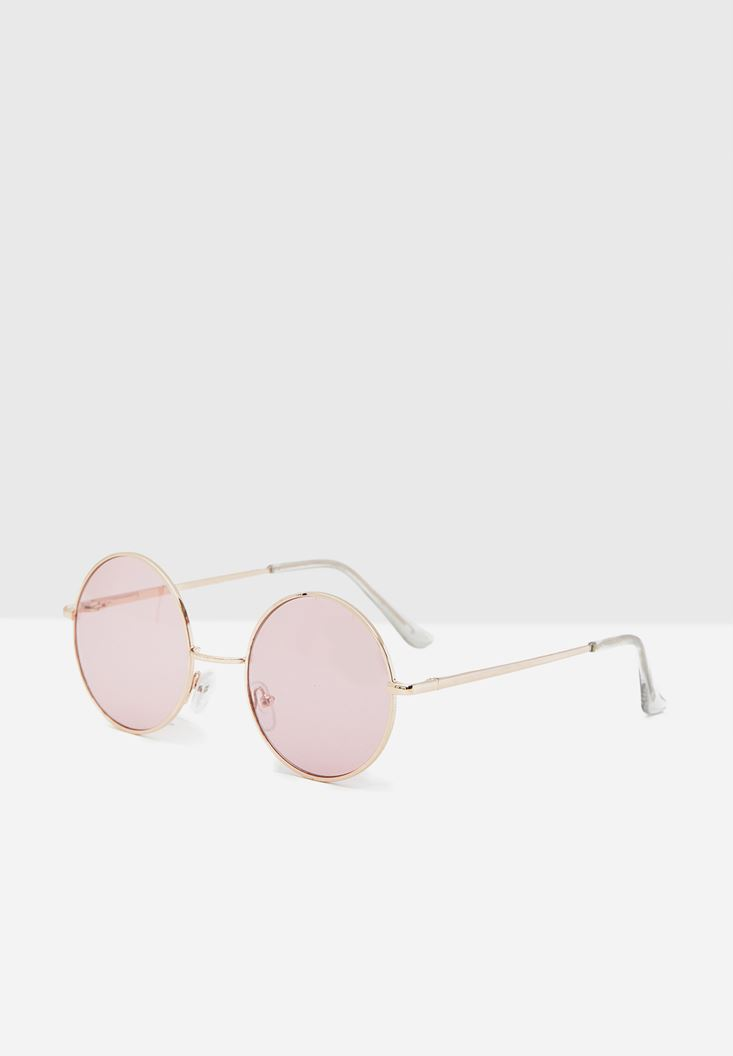 Pink Round Sunglasses with Details