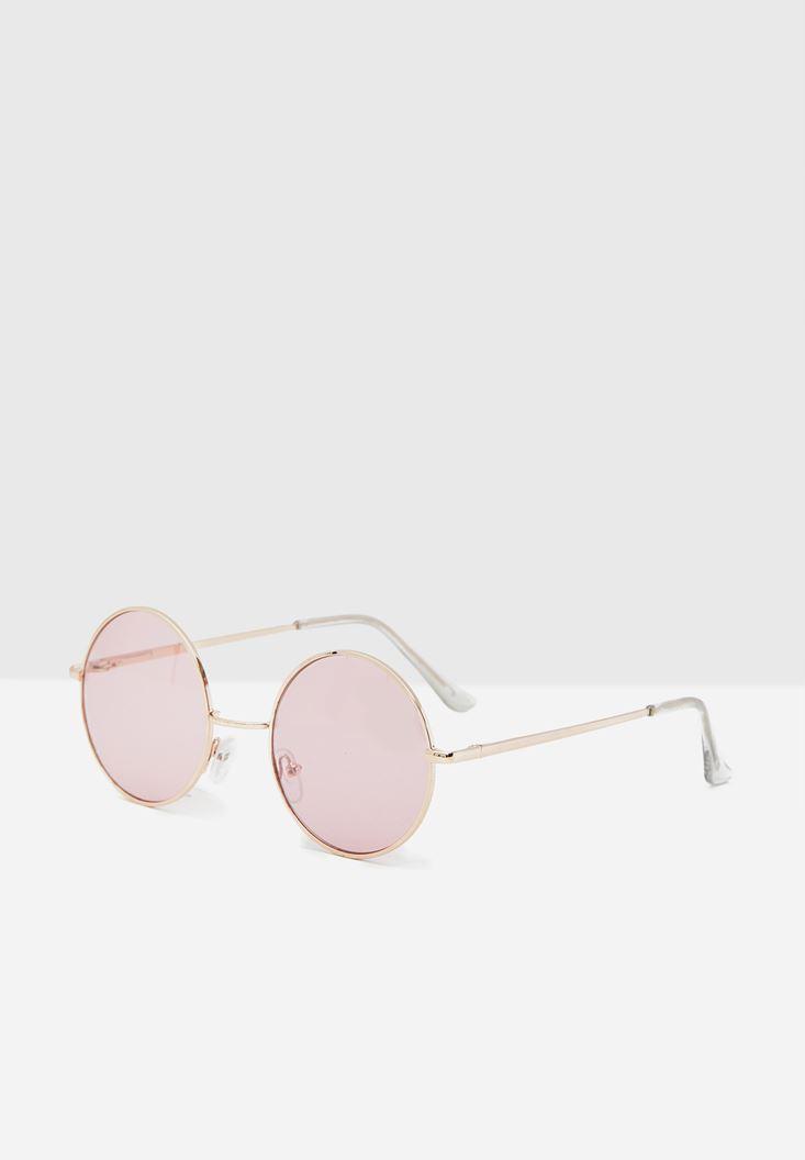 Pembe Yuvarlak Camlı Gözlük