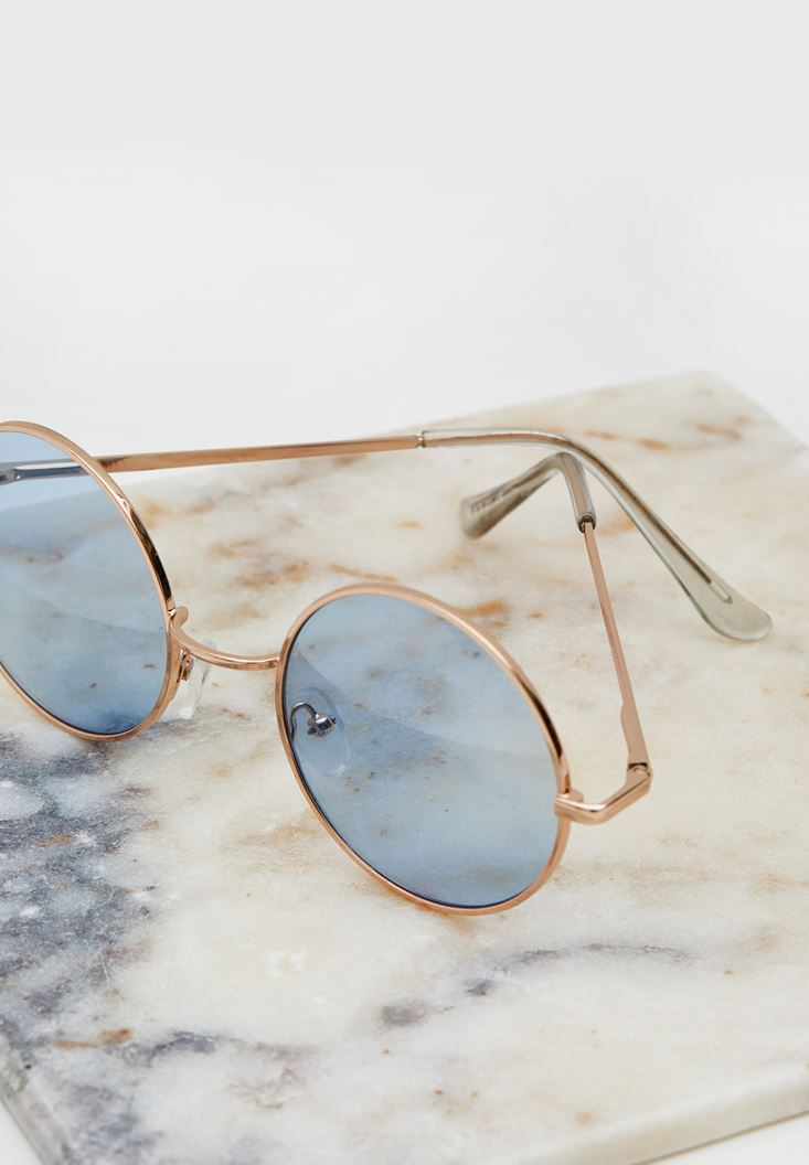 Blue Round Sunglasses with Details