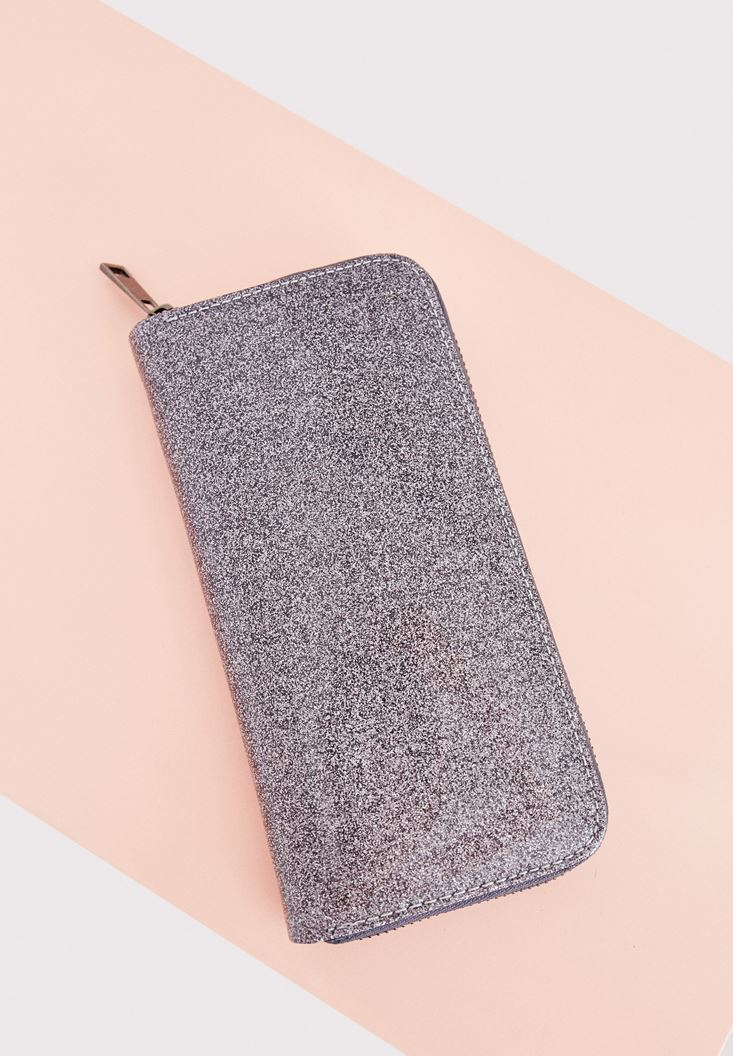 Grey Shiny Wallet with Details