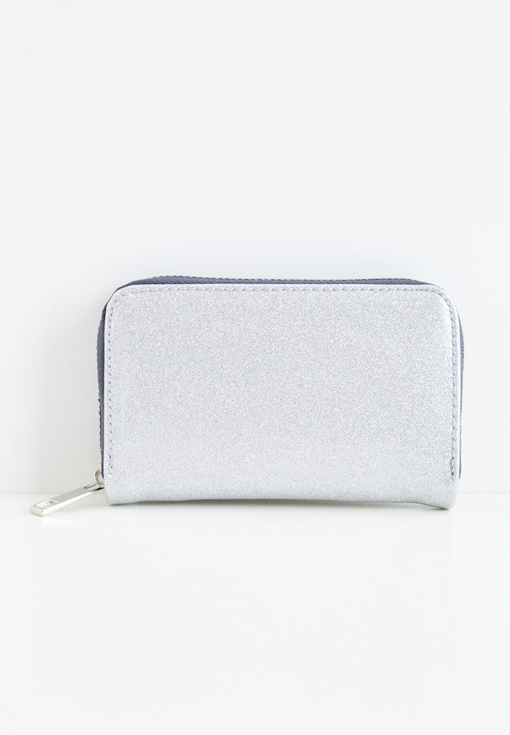 Silver Shiny Wallet with Zipper Details