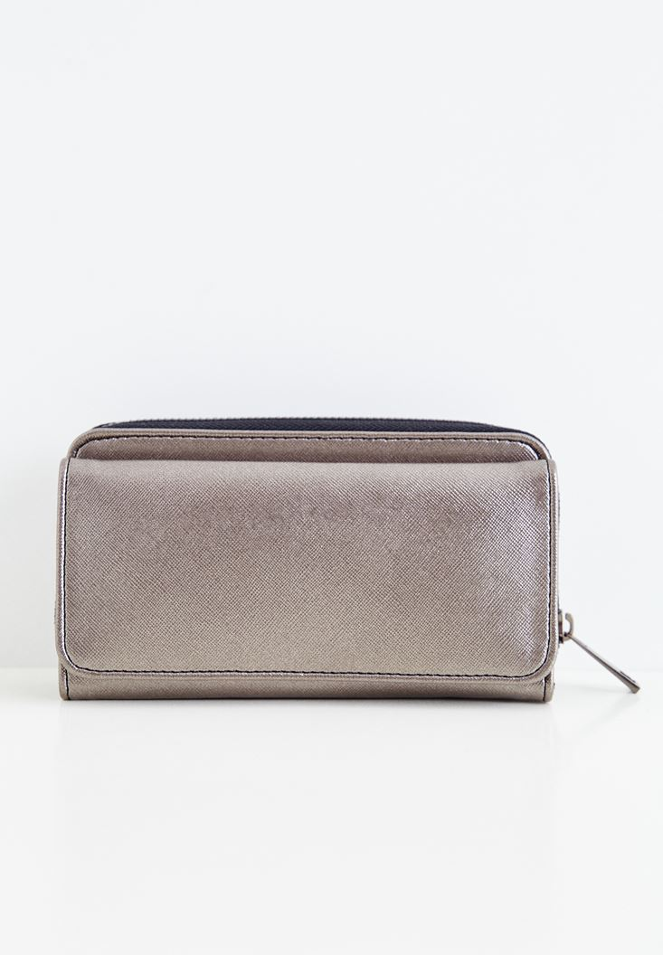 Grey Wallet with Shiny Details