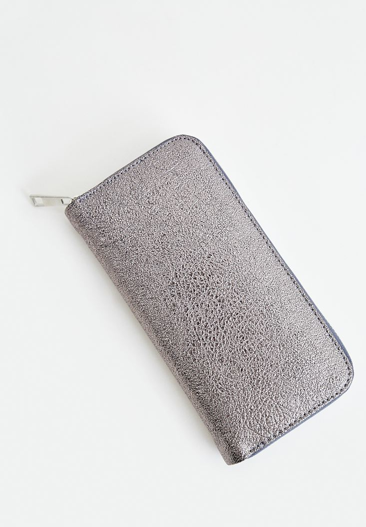 Grey Wallet with Zipper Details